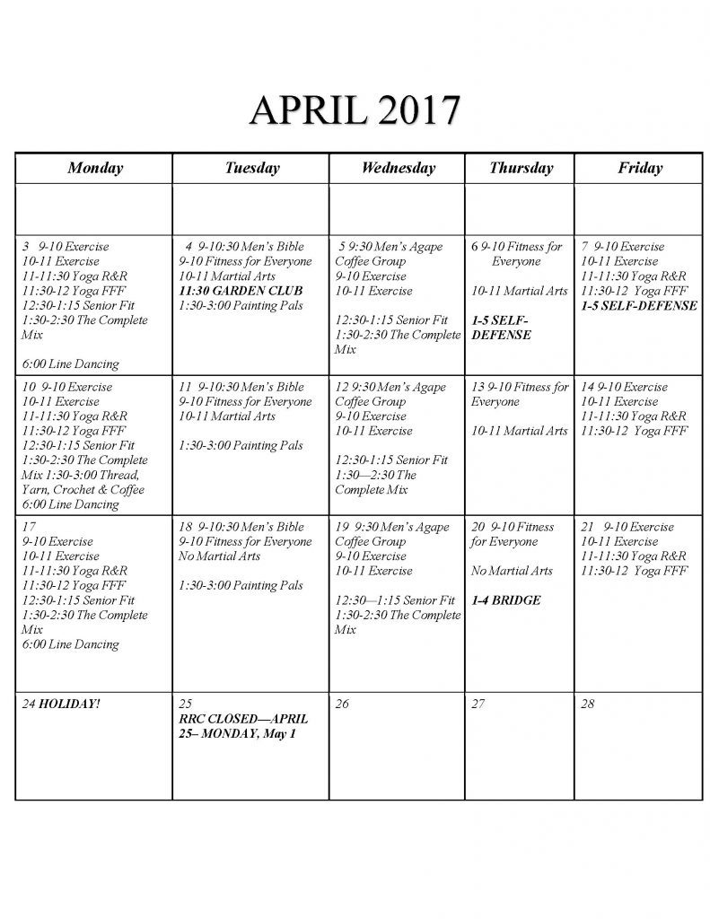 Superstar Seniors Activities Calendar for April