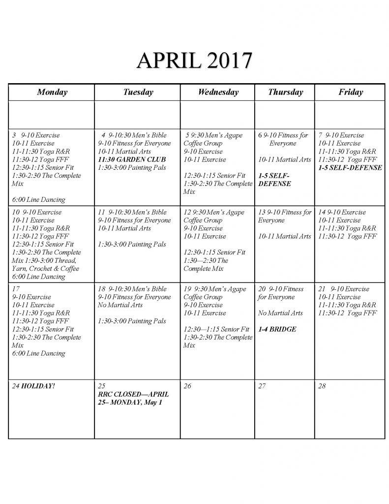 Superstar Seniors Activities Calendar for April