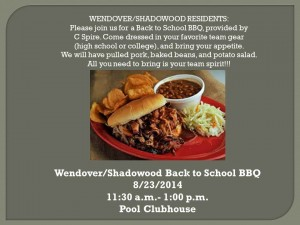 Wendover/Shadowood Back to School BBQ