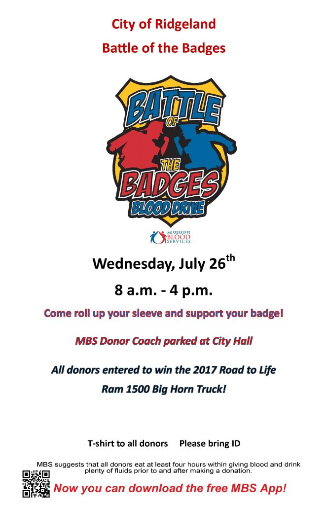 Battle of the Badges Blood Drive @ Ridgeland City Hall | Ridgeland | Mississippi | United States