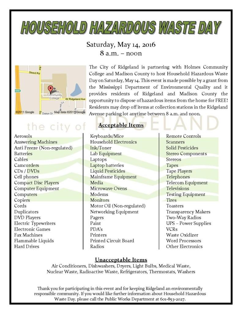 Household Hazardous Waste Day - Spring 2016 @ Holmes Community College | Ridgeland | Mississippi | United States