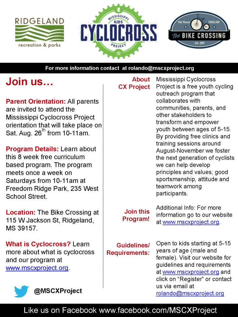 Mississippi Cyclocross Project Parent Orientation @ The Bike Crossing | Ridgeland | Mississippi | United States