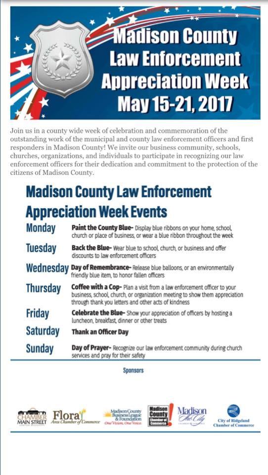 Madison County Law Enforcement Appreciation Week